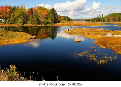 Waterway winding through a wetland in New England. Near Bar Harbor, Maine, Beautiful autumn foliage casts a brilliant reflection in the water.