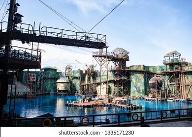 waterworld building show in Singapore Universal Studio