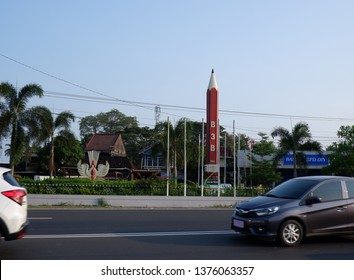 Wates,Kulon Progo-21 April 2019 : Tugu pensil or Tugu potlot,located in Kenteng,Wates. B3B pencil statue,a symbol about literacy awareness,ability to read and write in Kulon Progo area