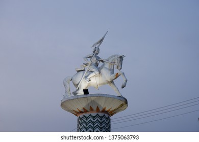 Wates,Kulon Progo-April 20 2019: Monument Nyi Ageng Serang,national hero of Indonesia,located in Wates,Kulon Progo,Yogyakarta. Nyi Ageng Serang holding spear and ride horse