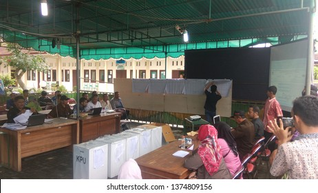 Wates,Yogyakarta-April 20 2019: 2019 elections recapitulation process at the sub-district level,Wates,Kulon Progo area.