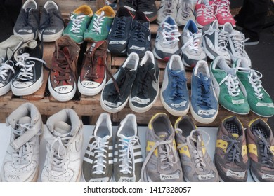 wates,yogyakarta-june 01 2019: used shoes with various size and color