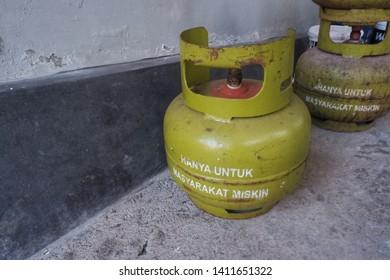 wates,yogyakarta-may 30 2019: pertamina lpg 3 kg, liquified petroleum gas