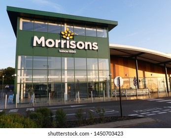 Watford, Hertfordshire, England, UK - July 14th 2019: Main entrance to Morrisons superstore in Ascot Road, Watford