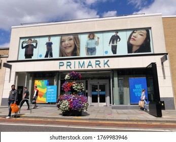 Watford, Hertfordshire, England, UK - July 5th 2020: Primark store, 109-111 High Street, Watford. Primark is an Irish fast fashion retailer.