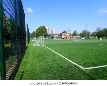 Watford, Hertfordshire, UK - May 19th 2018: 3G artificial grass pitch, Meriden Community Centre, Watford