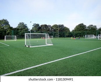 Watford, Hertfordshire, UK - September 15th 2018: Floodlit all-weather 3G artificial grass football pitch, Meriden Community Centre, Watford