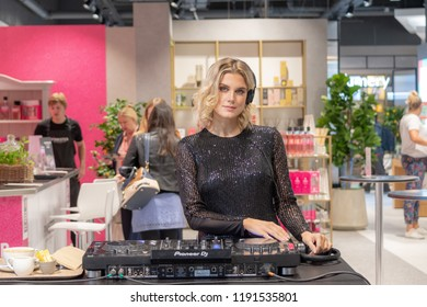 Watford, Hertfordshire / UK - September 27 2018: DJ Ashley James playing music at the opening of the new style Debenhams store in Watford.