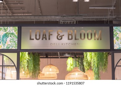 Watford, Hertfordshire / UK - September 27 2018: Loaf and Bloom restaurant in the new style Debenhams store in Watford. Also the first store in the new Intu Shopping Centre extension.