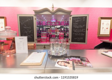 Watford, Hertfordshire / UK - September 27 2018: Pink Gin Bar in the new style Debenhams store in Watford. Also the first store in the new Intu Shopping Centre extension.