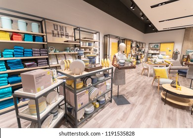 Watford, Hertfordshire / UK - September 27 2018: Home furnishings in the new style Debenhams store in Watford. Also the first store in the new Intu Shopping Centre extension.