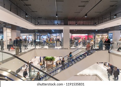 Watford, Hertfordshire / UK - September 27 2018: Opening of the new style Debenhams store in Watford. Also the first store in the new Intu Shopping Centre extension.