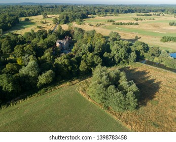 Watford, Hertfordshire, United Kingdom, August 2018: Aerial view of British countryside and houses at dawn
