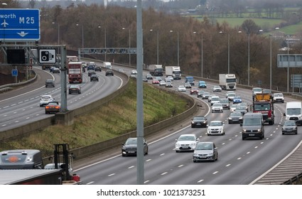 WATFORD, UK - FEBRUARY 8, 2018: Afternoon traffic on the busiest British motorway M25