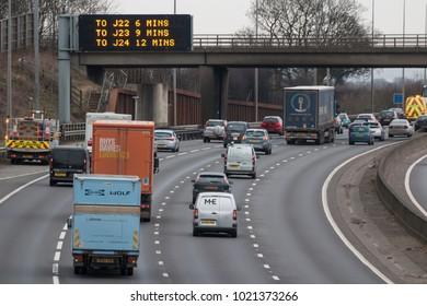 WATFORD, UK - FEBRUARY 8, 2018: Afternoon traffic on the busiest British motorway M25