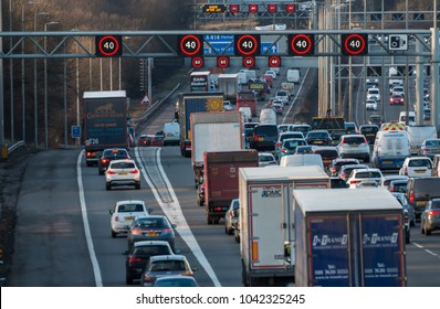 WATFORD, UK - MARCH 08, 2018: Evening traffic jam on British motorway M1