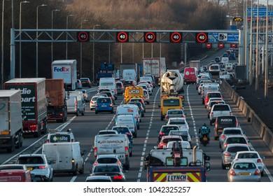 WATFORD, UK - MARCH 08, 2018: Evening traffic jam on British motorway M1