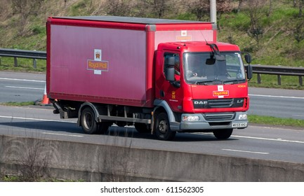 WATFORD, UK - MARCH 13, 2017: Small Royal Mail lorry in motion on the British M1 motorway