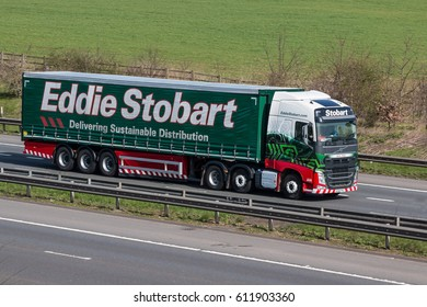 WATFORD, UK - MARCH 13, 2017: Lorry belonging to the one of the biggest transport company in UK, Eddie Stobart in motion on the M1 motorway.