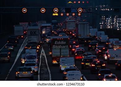 WATFORD, UK - NOVEMBER 15, 2018: Evening traffic jam on British motorway M1