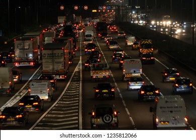 WATFORD, UK - NOVEMBER 15, 2018: Night traffic on British motorway M1