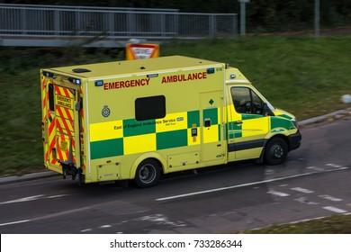 WATFORD, UK - OCTOBER 5, 2017: Ambulance in a rush on the street in the town