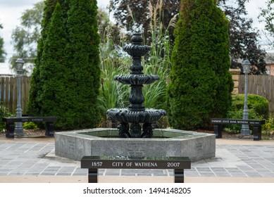 Wathena, Kansas / United States of America - September 1st, 2019 : City of Wathena fountain in downtown Wathena.