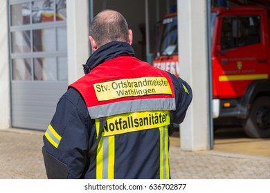 WATHLINGEN / GERMANY - MAY 7, 2017 : the german fire fighter have a exercise with a dummy
