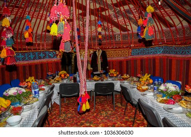 Wating for guests in nomads tents- yurts-interior during Nauryz holiday