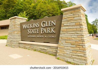 Watkins Glen, New York - June 27, 2021: Entrance sign of Watkins Glen State Park in Five Finger Lakes Region.