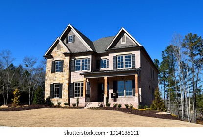 WATKINSVILLE, GEORGIA, USA - JANUARY 30, 2018: Home construction is booming at local counties in Georgia. Shown is a new constructed home for sale at Watkinsville, Georgia on January 30, 2018.
