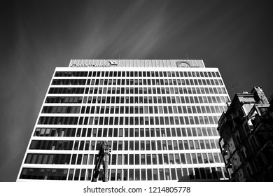 Watsaw, Poland. 16 September 2018. Glass curtain wall of modern office building Atrium 2. Black and white.