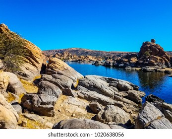 Watson Lake in the Granite Dells of Prescott, Arizona, is an area of inlets and beautiful boulder and cliff views.
