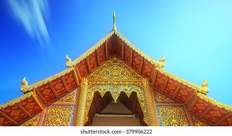 Wat,Temples with golden dragons in Chiang Mai, Thailand