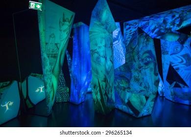 WATTENS, AUSTRIA - JULY 4, 2015: Interior of the Swarovski Crystal Worlds (Kristallwelten) museum. Swarovski is an Austrian producer of luxury cut lead glass found in 1895