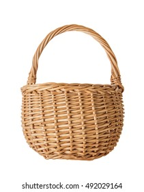 Wattled basket of natural wicker, isolated on a white background, front view