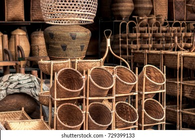 Wattled baskets in souvenir shop in Ubud. Traditional products of handcraft on Bali, Indonesia.