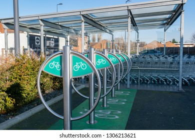 Wattrelos,FRANCE-January 20,2019: Bicycle parking in the Lidl supermarket.Lidl Stiftung & Co. KG  is a German global discount supermarket chain.