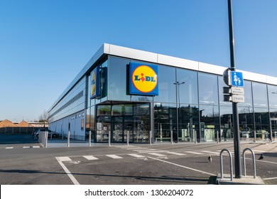 Wattrelos,FRANCE-January 20,2019: View of Lidl supermarket and logo.Lidl Stiftung & Co. KG  is a German global discount supermarket chain,operating in 26 European countries and the United States.