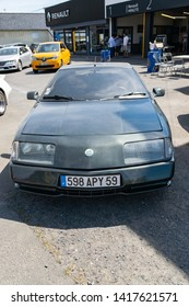 Wattrelos,FRANCE-June 02,2019: Renault Alpine GTA V6 Turbo,front view, car exhibited at the 7th Retro Car Festival at the Renault Wattrelos ZI Martinoire parking lot.