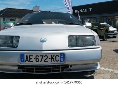 Wattrelos,FRANCE-June 02,2019:  Renault Alpine GTA V6 Turbo,car exhibited at the 7th Retro Car Festival at the Renault Wattrelos ZI Martinoire parking lot.