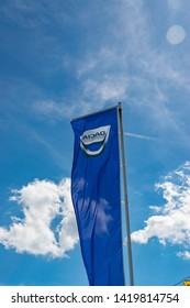 Wattrelos,FRANCE-June 02,2019: view of the Dacia showroom flag,Dacia is a Romanian car manufacturer that is a subsidiary of the Renault group.
