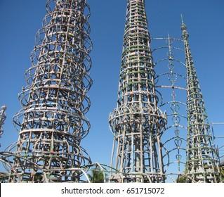 Watts, California USA - September 18, 2016: Watts Towers by Simon Rodia, 3 main towers