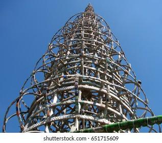 Watts, California USA - September 18, 2016: Watts Towers by Simon Rodia, West Tower