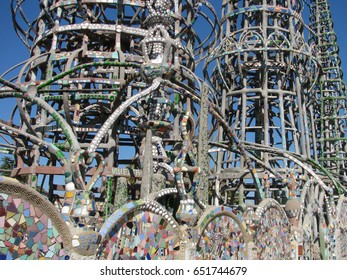 Watts, California USA - September 18, 2016: Watts Towers by Simon Rodia, towers and wall decoration details