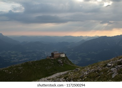 The Watzmannhaus over Berchtesgaden in Bavaria, Germany, seen from the summit of the Hocheck