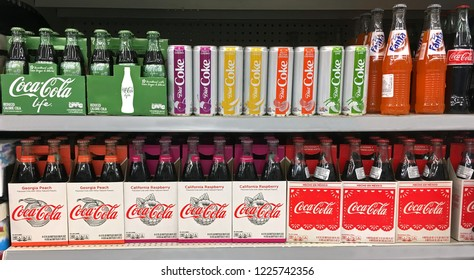 Waubedonia, WI USA – October 31, 2018: Assorted specialty Coke company products on the shelf, limited release flavors Illustrative editorial