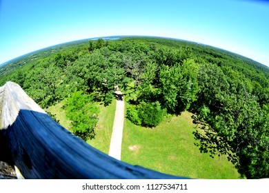 Waukesha County Wisconsin highest point at Lapham State Park showing a special effect from the top of the viewing tower.
