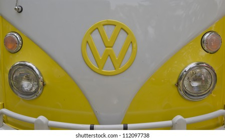 WAUPACA, WI - AUGUST 25:  Close up of Yellow & White 1966 VW Volkswagon Camper van at the 10th Annual Waupaca Rod & Classic Car Club Car Show on August 25, 2012 in Waupaca, Wisconsin.