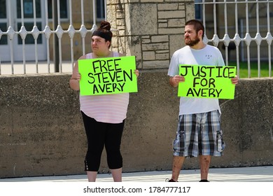 Waupun, Wisconsin / USA - July 25th, 2020: Supporters of Steven Avery stood outside of waupun dodge correctional protesting his freedom and rallying neighbors as they watched the protest.